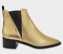 Jensen Optik Ankle Boots aus goldfarbenem schwarzem Kalbsleder
