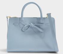 Handtasche Mini Sun aus blaugrauem Kalbsleder