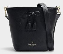 Bucket Bag Vanessa Hayes Street aus schwarzem, genarbtem Leder