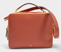 The Stack Double Satchel Tasche aus haselnussbraunem Leder