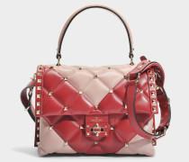 Candy Lock Single Handle Tasche aus Dusty rosanem und rotem Kalbsleder