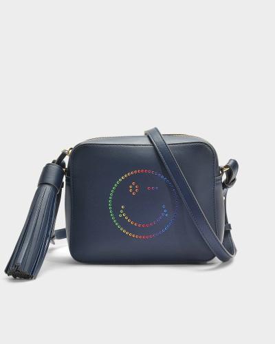 Handtasche Rainbow Wink aus marineblauem Kalbsleder