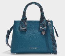 Rollins Small Satchel in Blue Calfskin