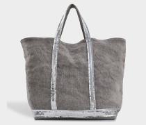 mittlerer Shopper + aus grauem Leinaus Pailletten