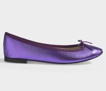 Ballerinas Cendrillon aus Violettem Metallic Lammleder
