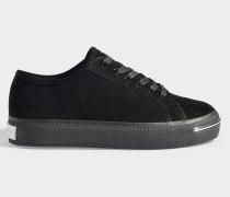 Sneaker Pia aus Veloursleder aus schwarzem Kalbsleder