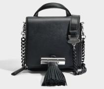 Mini Handtasche mit Griff Sailor Chain aus schwarzem Kalbsleder