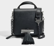 Sailor Chain Mini Top Handle Tasche aus schwarzem Leder