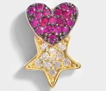 Heart Eatausg Star Mono Ohrring aus 14K Gold und Diamanten