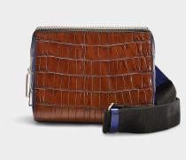 Handtasche mit Schulterriemen Ray Triangle aus braunem Kalbsleder
