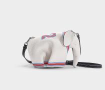 Handtasche Elefant  22 Mini aus weißem und rotem Kalbsleder