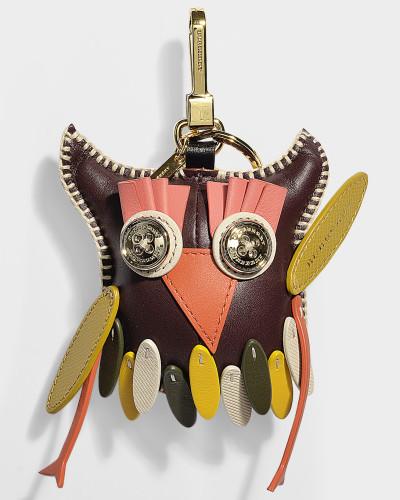 Owl Schlüsselanhänger aus Bordeauxrotem Kaschmir