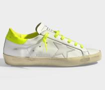 Sneaker Fluro Superstar aus weißem und neongelbem Kalbsleder und weißem Ziegenleder
