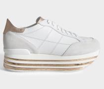 H349 Maxi Platform Sneaker mit Kork Dundail aus weißem und rosegoldfarbenemenem Leder und Kork