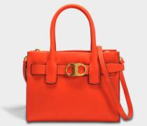 GeMini Link Small Tote Bag aus orangefarbenem Kalbsleder