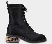 35Mm Casati Pearl Combat Stiefel aus schwarzer Baumwolle und Viskose