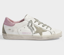 Superstar Sneakers in White and Baby Pink Leather