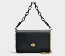 Kira Shoulder Bag aus schwarzem und navyblauem Danubio Soft