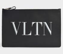 Clutch mit Reißverschlusse VLTN aus schwarzem und weißem Kalbsleder
