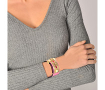 B-Rockstud Armband aus Shadow rosanem Leder