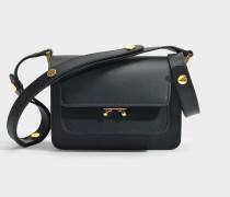 Mini Trunk Tasche aus schwarzem mattem Kalbsleder