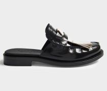 Beckshill Fringed Mule Schuhe aus schwarzem Leder