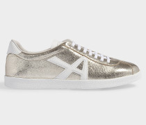 The A Sneakers in Platino and White Textured Nappa an Calf Leather