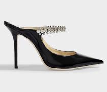 Mules mit Diamantdetails Bing 100 aus schwarzem Lackleder
