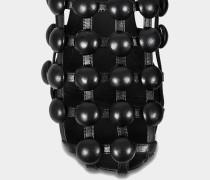Amelia Flat Schlappen Schuhe aus schwarzem Lammleder