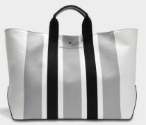 Large Tote Bag aus weißem grauem und schwarzem Jacquard Stoff und Kalbsleder
