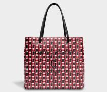 EW Logo Shopper Tasche aus rotem Split Kuhleder