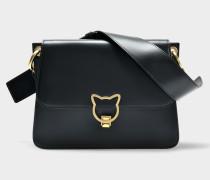 Kat Lock Shoulder Bag aus schwarzem glattem Kalbsleder