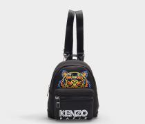Mini Rucksack Rucksack Icon aus schwarzem Gummi und Polyester