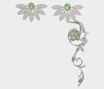 Asymetrische Half-Daisy Drop Ohrringe aus Peridot grünem Schmucksteinen und Metall