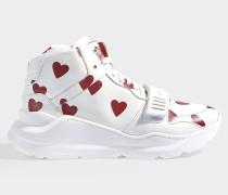 Regis heart hightop Sneaker aus rosa und weißem Kalbsleder glatt