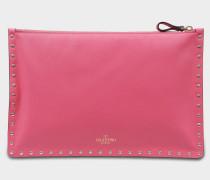 Rockstud Large Flat Beuteltasche aus Shadow rosanem Kalbsleder