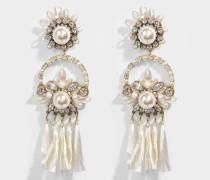 Malena Ohrringe aus weißem Messing, Raffia, Swarowskisteinen und Perlen