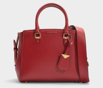 Benning Medium Messenger Bag in Red Calfskin