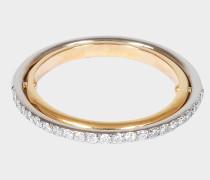 Elipse Ring aus gelbem und weißem 18K goldfarbenem und Diamanten