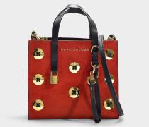 Handtasche The Mini Grind Suede Buttons aus rotem Kalbsleder