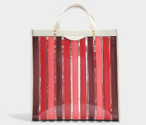 Shopper Multi Stripes aus Synthetikmaterial in Bordeauxrot