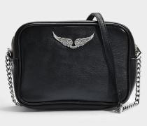 Boxy XS Tasche aus schwarzem Kuhleder