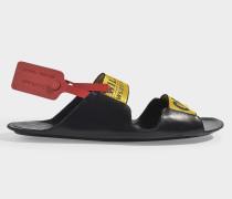 Sandalen Logo Reißverschluss Tie aus schwarzem Leder