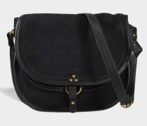Large Felix Tasche aus schwarzem doppelseitigem Ziegenleder