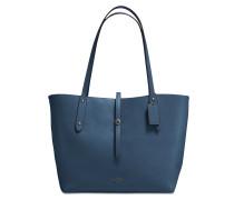 Markund Tote Bag aus blauem Kalbsleder