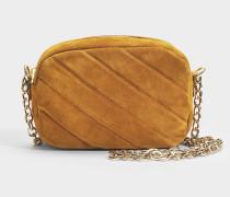 Carole Tasche aus Caf karamelfarbenem Wildleder und Rindsleder