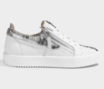 Sneaker aus Leder mit Schlangenprägung in Weiß und Silber