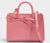 Handtasche Mini Mini Sun aus Kalbsleder und Stoff in Rosa