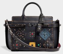 Double  Swagger Tasche aus schwarzem mehrfarbigem Kalbsleder
