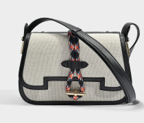 Mazarine Large Tasche aus schwarzem Nappa Leder und Baumwolle